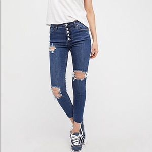 NWT Free People Reagan Destroyed Button Fly Jeans